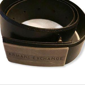 Armani Exchange Mens Black Leather Belt Size 32.